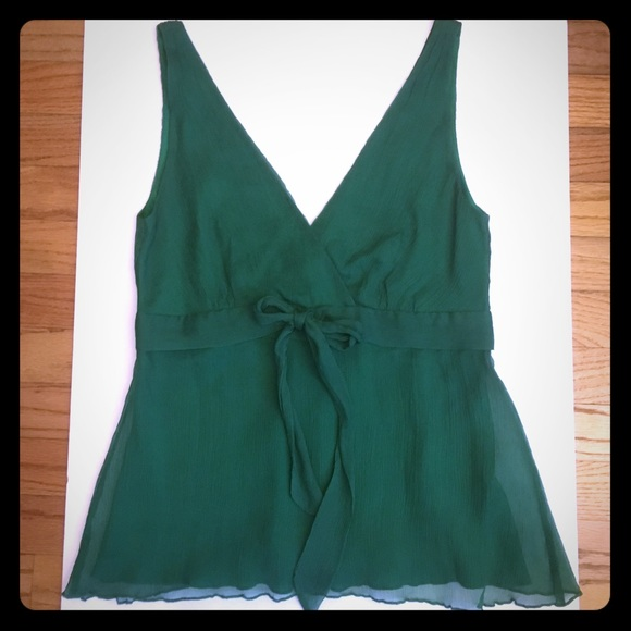 ab8decc9 J. Crew Tops | 100 Silk Sleeveless Blouse J Crew Emerald Green ...